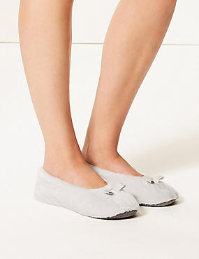 Bow Ballerina Slippers, GREY, catlanding