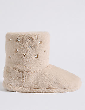 Pearl Detail Slipper Boots