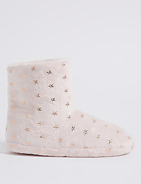 Star Printed Slipper Boots