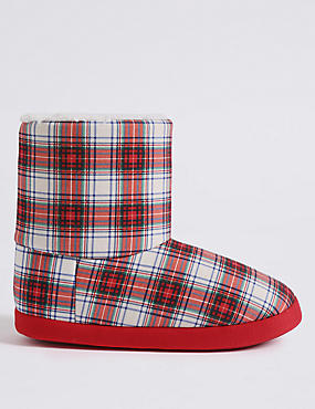 Checked Slipper Boots