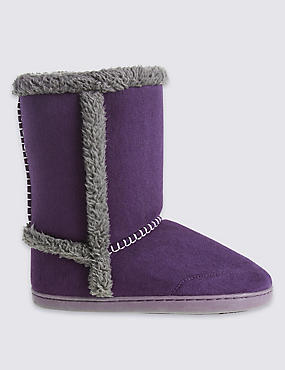 Faux Fur Lined Slipper Boots