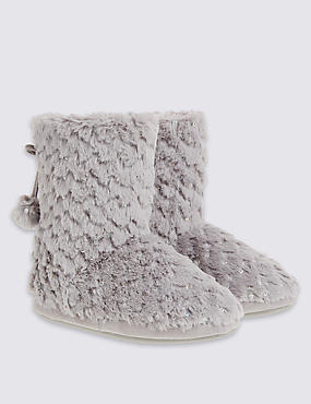 Pull On Sequin Faux Fur Slipper Boots