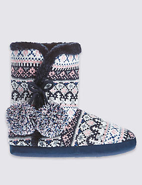 Pull On Fairisle Slipper Boots