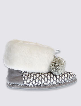 Pull On Geo Knitted Slipper Boots