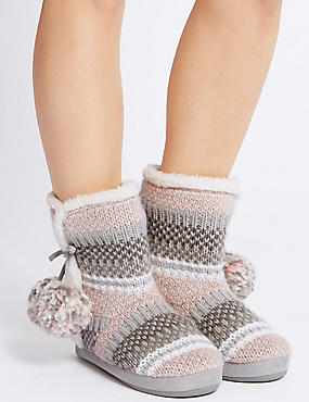 Fairisle Knit Slipper Boots