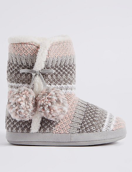 Fairisle Knit Slipper Boots | M&S Collection | M&S