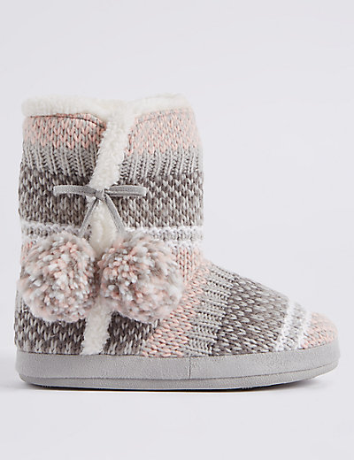 Fairisle Knit Slipper Boots M S