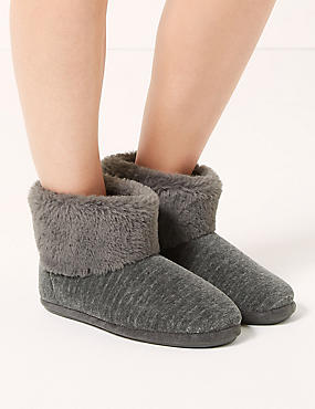 Faux Fur Turned Down Slipper Boots, GREY MIX, catlanding