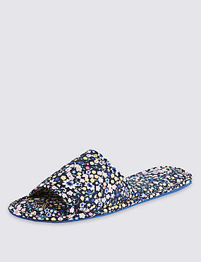 Open Toe Floral Flattie Mule Slippers