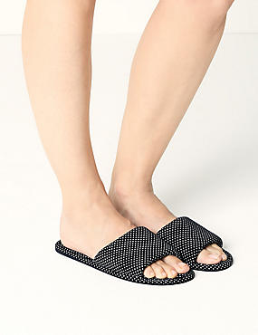 Open Toe Spotted Mule Slippers