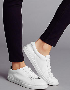 Leather Lace Up Trainers with Insolia Flex®