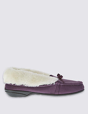 Pull On Faux Fur Moccasin Slippers
