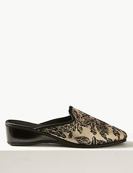 Wedge Heel Floral Print Mule Slippers M S Collection M S