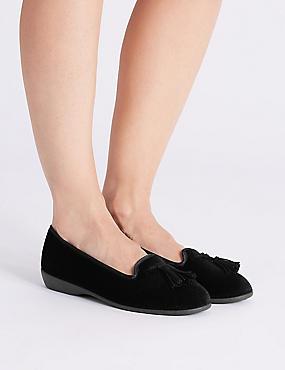 Tassel Ballerina Slippers, BLACK, catlanding