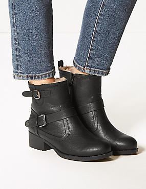 Wide Fit Block Heel Biker Ankle Boots, BLACK, catlanding