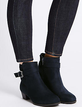 Wide Fit Block Heel Strap Ankle Boots