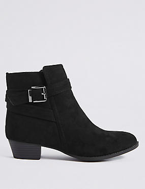 Block Heel Strap Ankle Boots