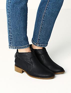 Block Heel Tie Back Ankle Boots, BLACK, catlanding