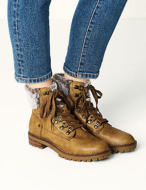 Block Heel Faux Fur Hiker Ankle Boots, TAN, catlanding