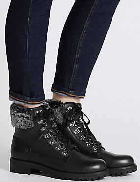 Faux Fur Hiker Ankle Boots, BLACK, catlanding