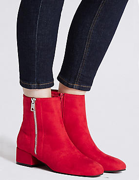 Block Heel Side Zip Ankle Boots, RED, catlanding