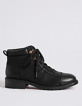 Block Heel Lace-up Toe Cap Ankle Boots