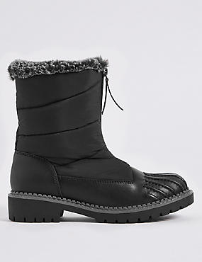 Waterproof Block Heel Front Zip Ankle Boots