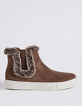 Fur Trim Ankle Boots