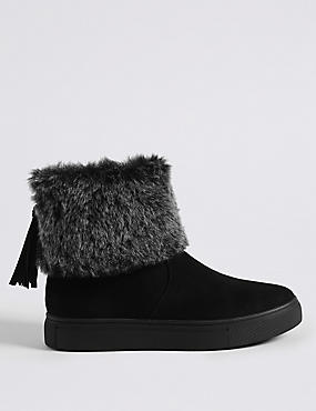 Side Zip Tassel Faux Fur Ankle Boots