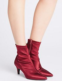 Kitten Heel Side Zip Ankle Boots