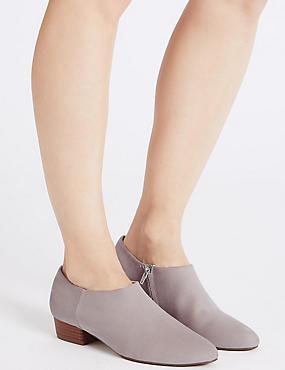 Block Heel Side Zip Low Cut Shoe Boots, GREY, catlanding
