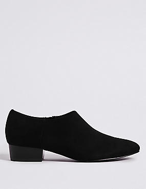 Block Heel Side Zip Low Cut Shoe Boots