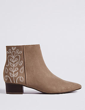 Block Heel Size Zip Embroidered Ankle Boots