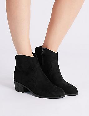 Block Heel Western Boots, BLACK, catlanding