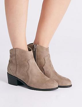 Wide Fit Block Heel Ankle Boots, MINK, catlanding