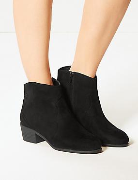 Wide Fit Block Heel Ankle Boots, BLACK, catlanding