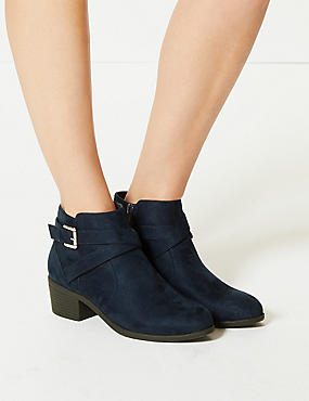 Side Buckle Ankle Boots, NAVY, catlanding