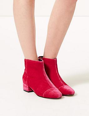 Velvet Ankle Boots, PINK, catlanding