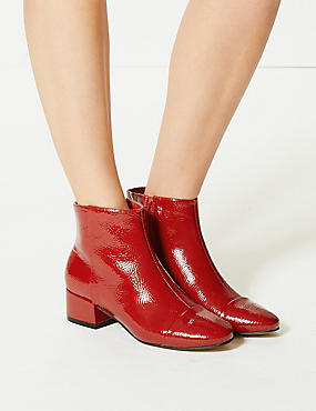 Block Heel Ankle Boots, RED, catlanding