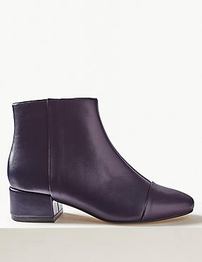 Block Heel Ankle Boots, PURPLE, catlanding