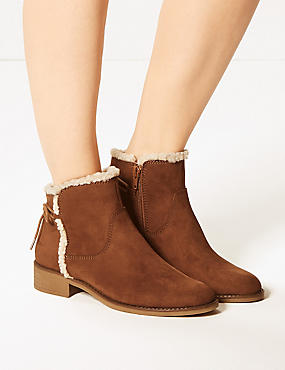 Tie Back Ankle Boots, TAN, catlanding