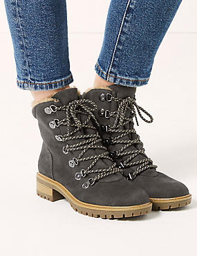 Lace-up Ankle Hiker Boots, GREY, catlanding