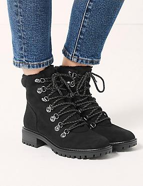 Lace-up Ankle Hiker Boots, BLACK, catlanding