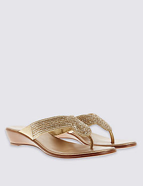 Beaded Wedge Mule Sandals
