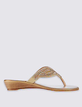 Wedge Heel Bling Mule Sandals