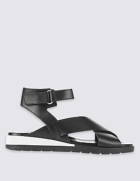 Leather Flatform Riptape Sporty Sandals