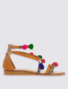 Cross Over Pom Pom Sandals