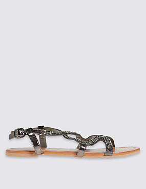 Leather Swirl Jewel Sandals