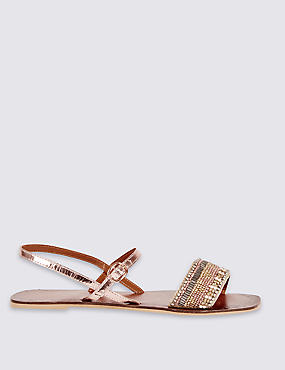 Leather Embellished Sandals