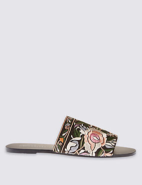 Embroidered Mule Sandals